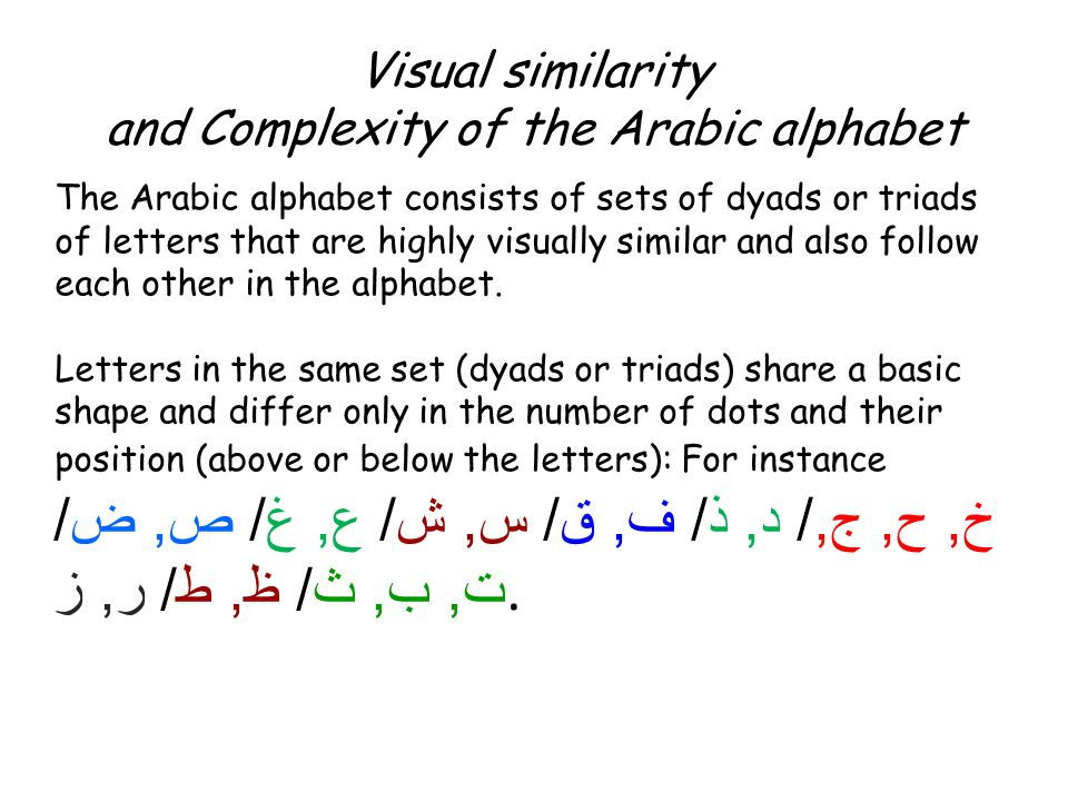 Visual similarity and Complexity of the Arabic alphabet The Arabic alphabet consists of sets of dyads or triads of letters that are highly visually si