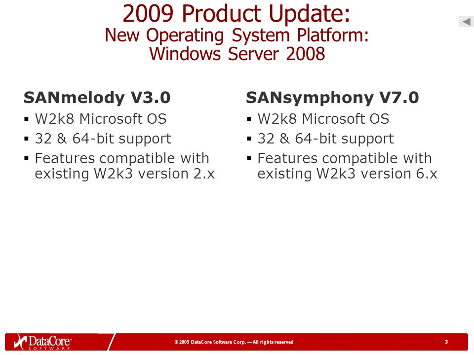 3 © 2009 DataCore Software Corp. All rights reserved 3 2009 Product Update: New Operating System Platform: Windows Server 2008 SANmelody V3.0 W2k8 Mic