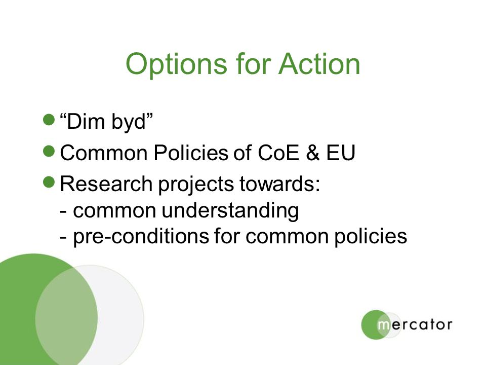 Options for Action Dim byd Common Policies of CoE & EU Research projects towards: - common understanding - pre-conditions for common policies