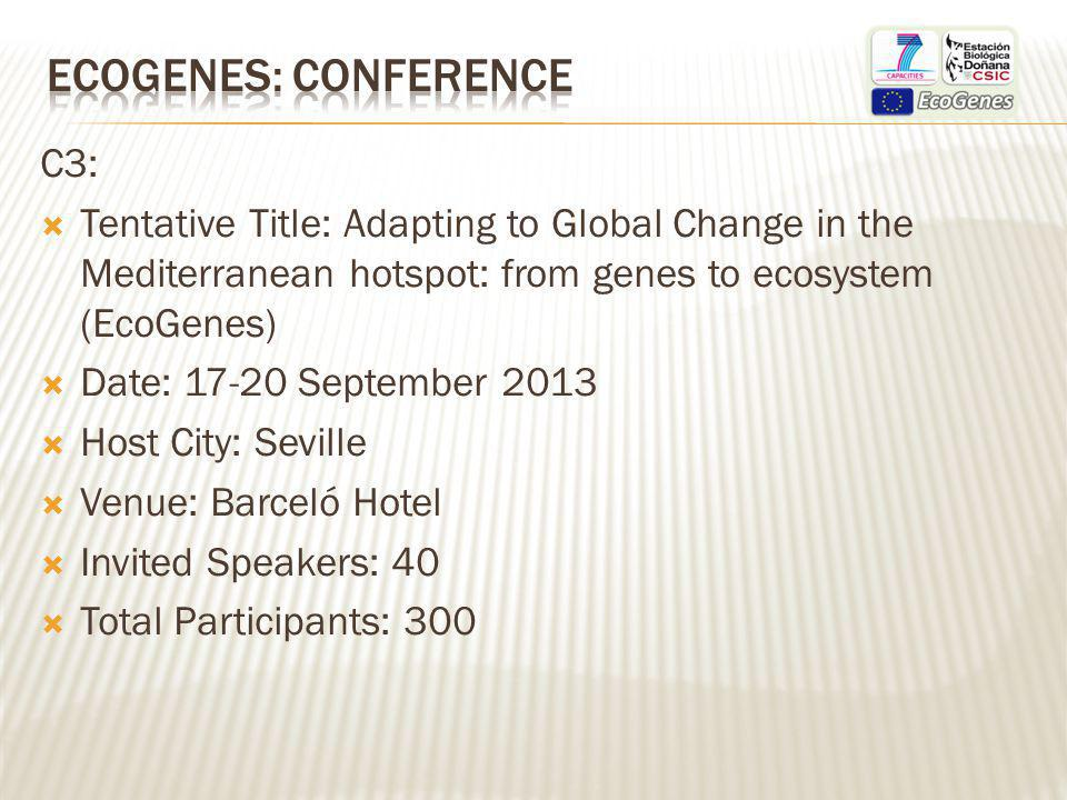 C3: Tentative Title: Adapting to Global Change in the Mediterranean hotspot: from genes to ecosystem (EcoGenes) Date: 17-20 September 2013 Host City: Seville Venue: Barceló Hotel Invited Speakers: 40 Total Participants: 300