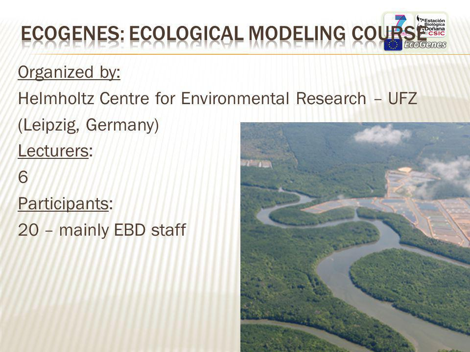 Organized by: Helmholtz Centre for Environmental Research – UFZ (Leipzig, Germany) Lecturers: 6 Participants: 20 – mainly EBD staff