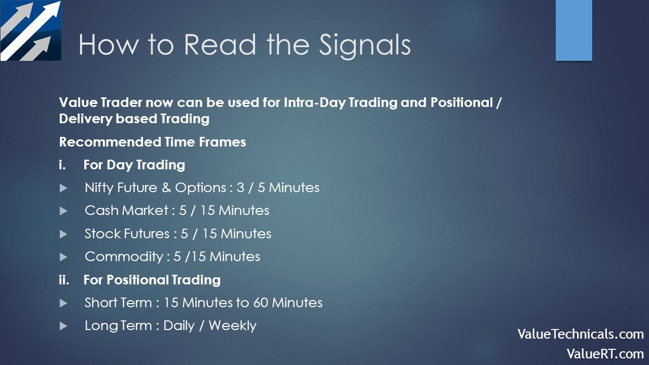 How to Read the Signals Value Trader now can be used for Intra-Day Trading and Positional / Delivery based Trading Recommended Time Frames i.