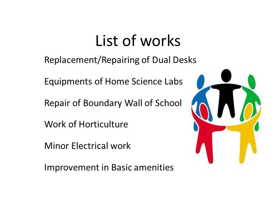 List of works Replacement/Repairing of Dual Desks Equipments of Home Science Labs Repair of Boundary Wall of School Work of Horticulture Minor Electri