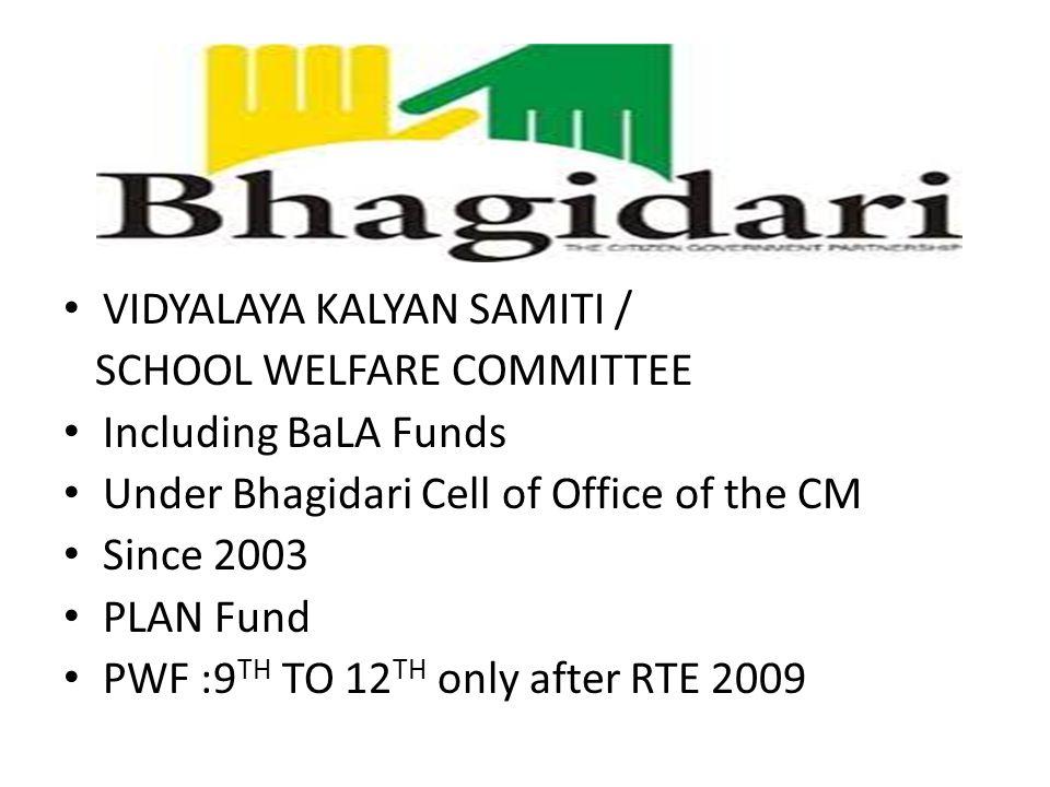 VIDYALAYA KALYAN SAMITI / SCHOOL WELFARE COMMITTEE Including BaLA Funds Under Bhagidari Cell of Office of the CM Since 2003 PLAN Fund PWF :9 TH TO 12