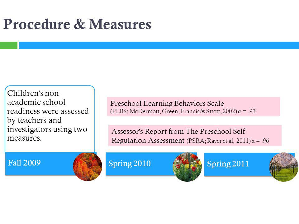 Fall 2009 Spring 2010 Spring 2011 Procedure & Measures Childrens non- academic school readiness were assessed by teachers and investigators using two measures.