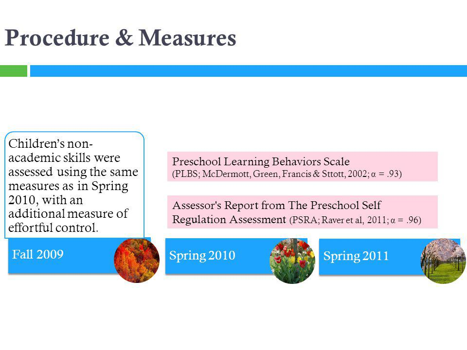 Fall 2009 Spring 2010 Procedure & Measures Preschool Learning Behaviors Scale (PLBS; McDermott, Green, Francis & Sttott, 2002; α =.93) Assessor s Report from The Preschool Self Regulation Assessment (PSRA; Raver et al, 2011; α =.96) Childrens non- academic skills were assessed using the same measures as in Spring 2010, with an additional measure of effortful control.