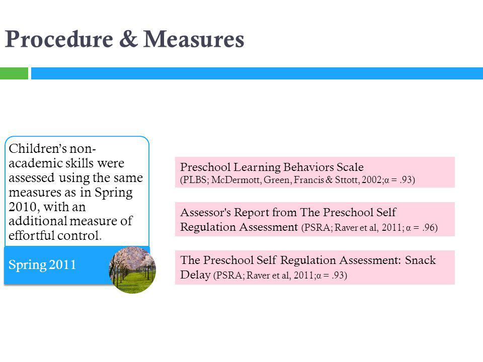 Procedure & Measures Preschool Learning Behaviors Scale (PLBS; McDermott, Green, Francis & Sttott, 2002; α =.93) Assessor s Report from The Preschool Self Regulation Assessment (PSRA; Raver et al, 2011; α =.96) Childrens non- academic skills were assessed using the same measures as in Spring 2010, with an additional measure of effortful control.