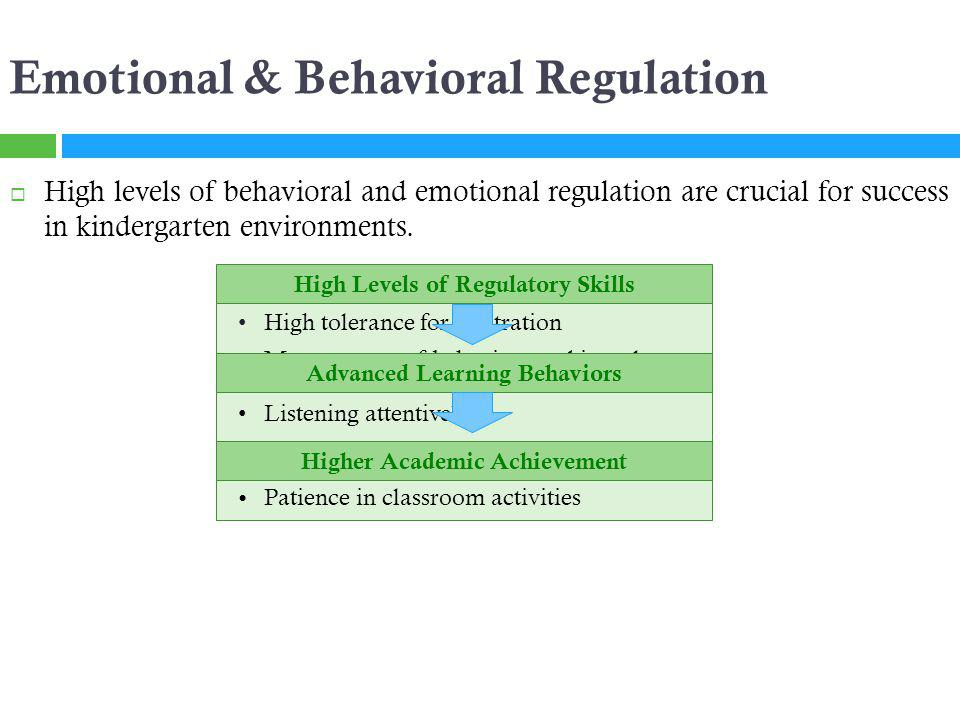 Low Levels of Regulatory Skills Emotional & Behavioral Regulation High levels of behavioral and emotional regulation are crucial for success in kindergarten environments.