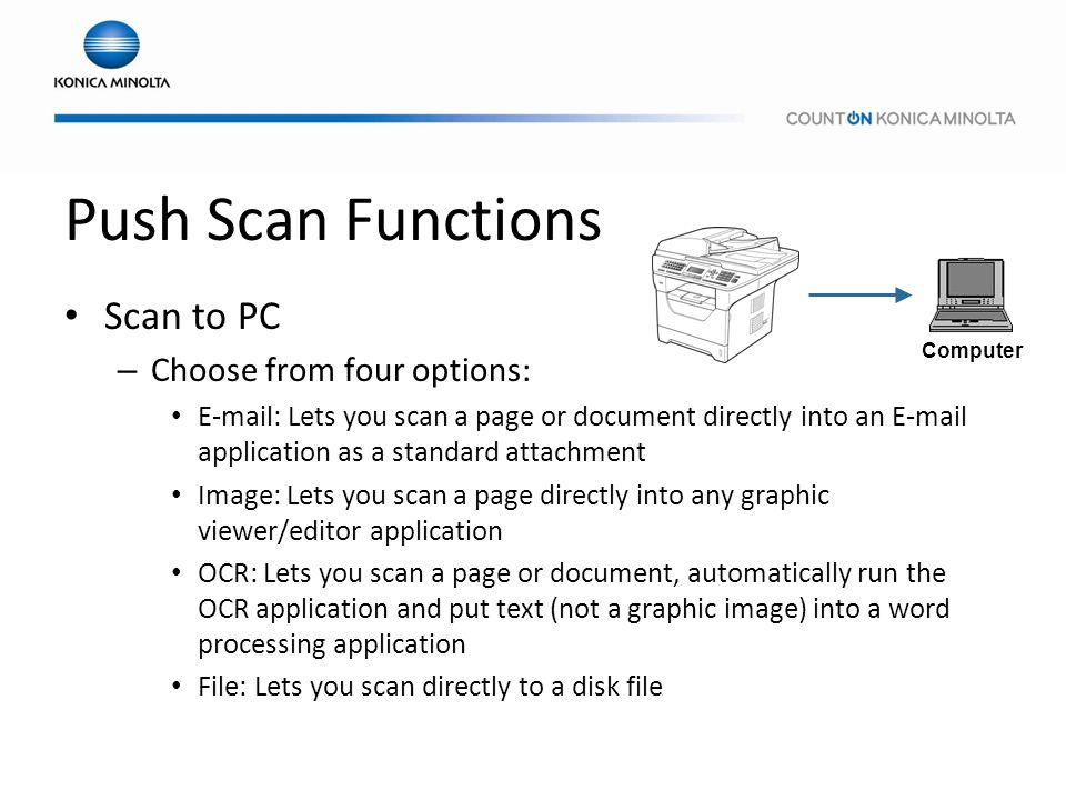 Push Scan Functions Scan to PC – Choose from four options: E-mail: Lets you scan a page or document directly into an E-mail application as a standard
