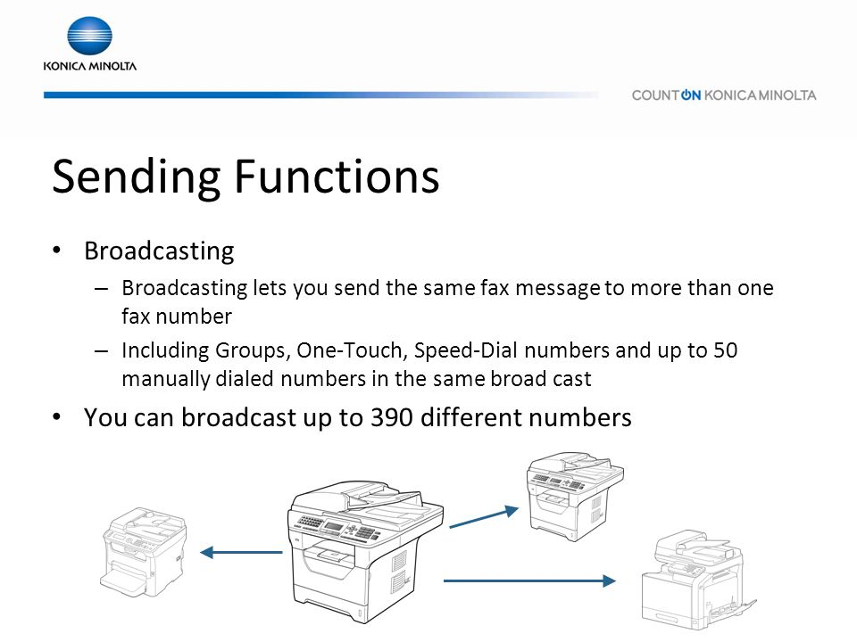 Sending Functions Broadcasting – Broadcasting lets you send the same fax message to more than one fax number – Including Groups, One-Touch, Speed-Dial