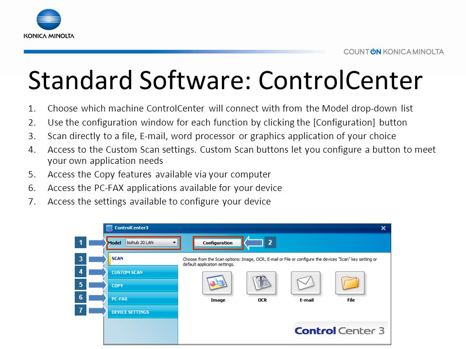 Standard Software: ControlCenter 1.Choose which machine ControlCenter will connect with from the Model drop-down list 2.Use the configuration window f