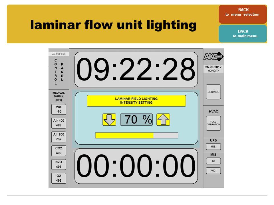 laminar flow unit lighting BACK to menu selection BACK to main menu