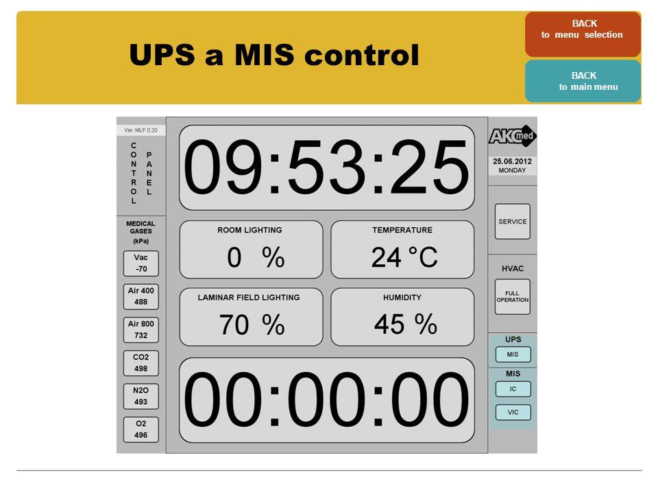 BACK to menu selection BACK to main menu UPS a MIS control