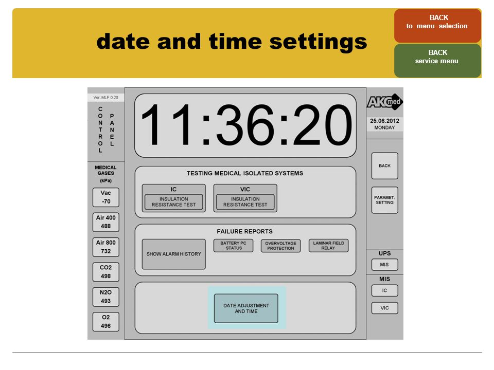 date and time settings BACK to menu selection BACK service menu