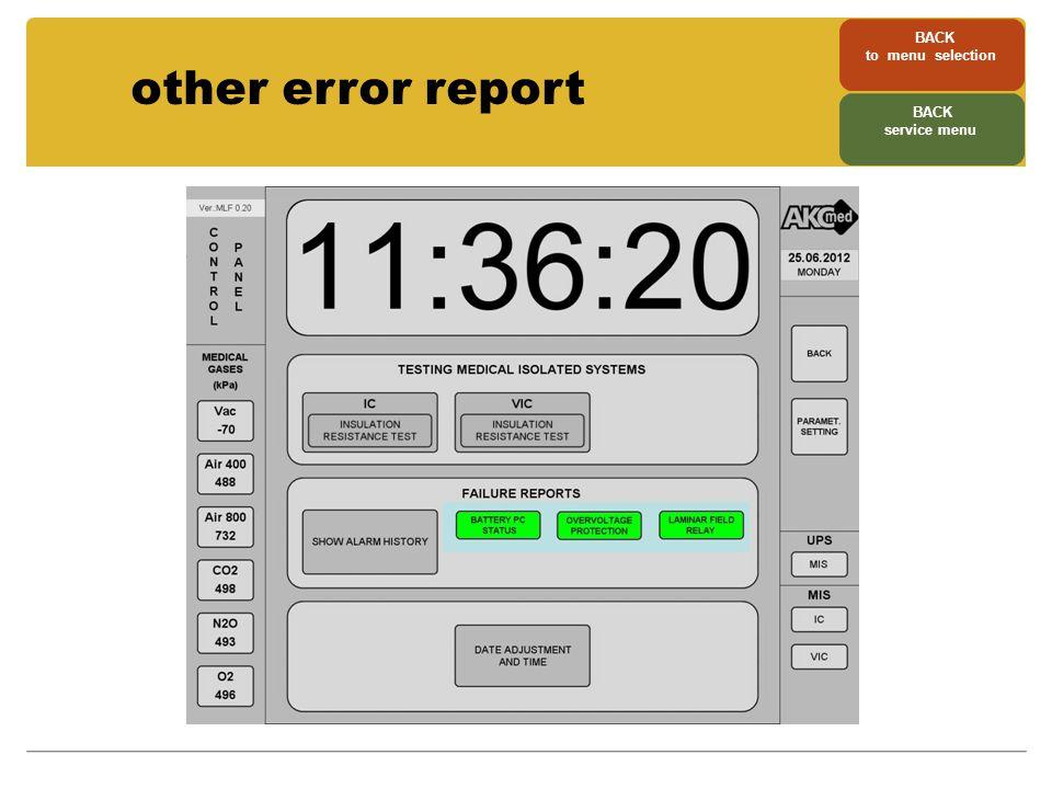 other error report BACK to menu selection BACK service menu