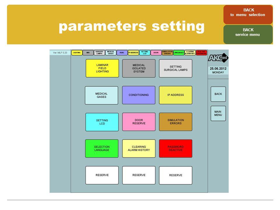 parameters setting BACK to menu selection BACK service menu