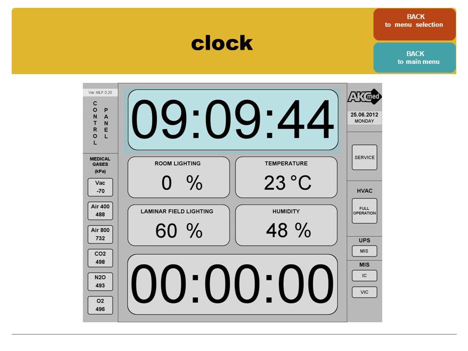 clock BACK to main menu BACK to menu selection