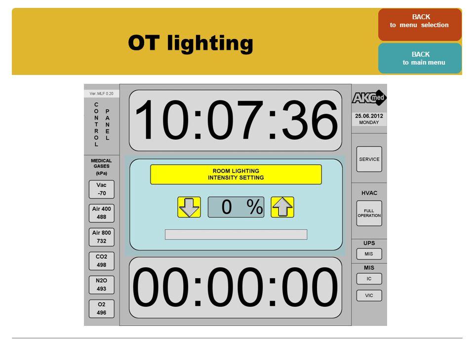 BACK to menu selection BACK to main menu OT lighting