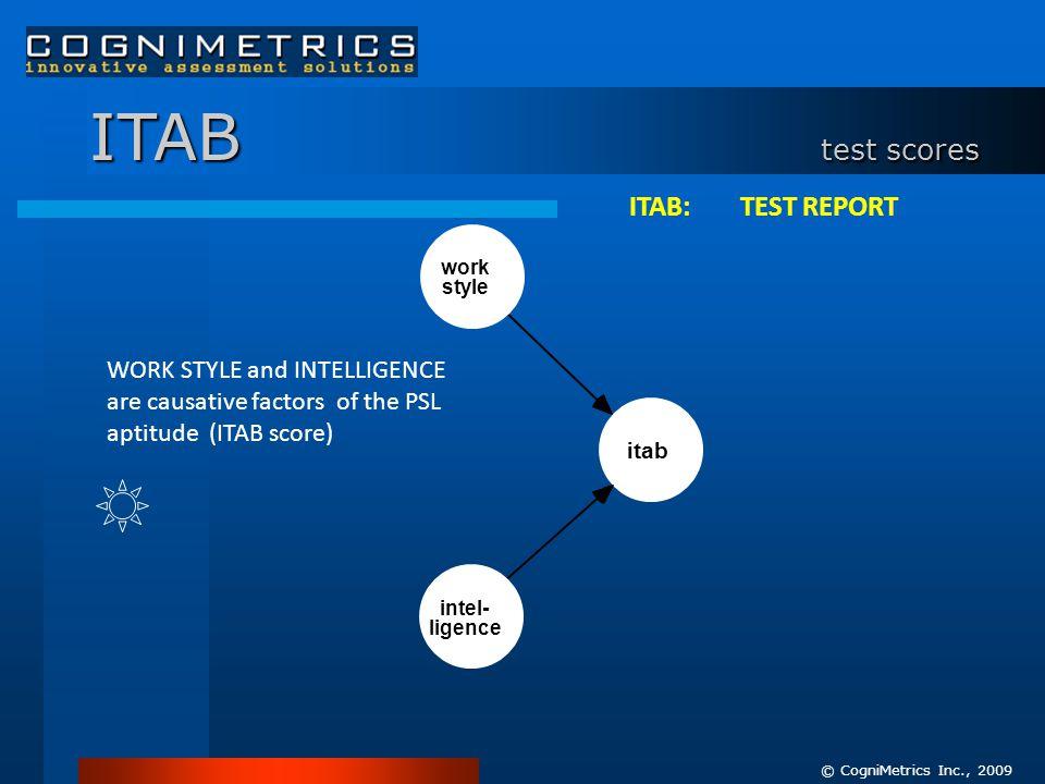 © CogniMetrics Inc., 2009 work style itab intel- ligence ITAB test scores ITAB: TEST REPORT WORK STYLE and INTELLIGENCE are causative factors of the PSL aptitude (ITAB score)