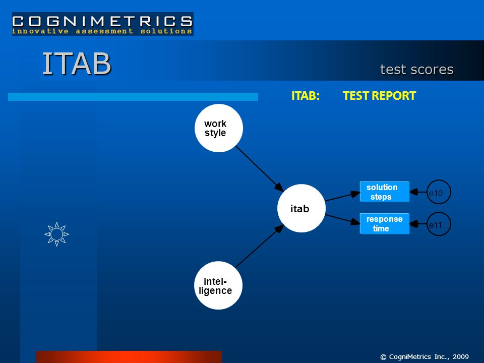 © CogniMetrics Inc., 2009 solution steps e10 response time e11 ITAB test scores work style itab intel- ligence ITAB: TEST REPORT