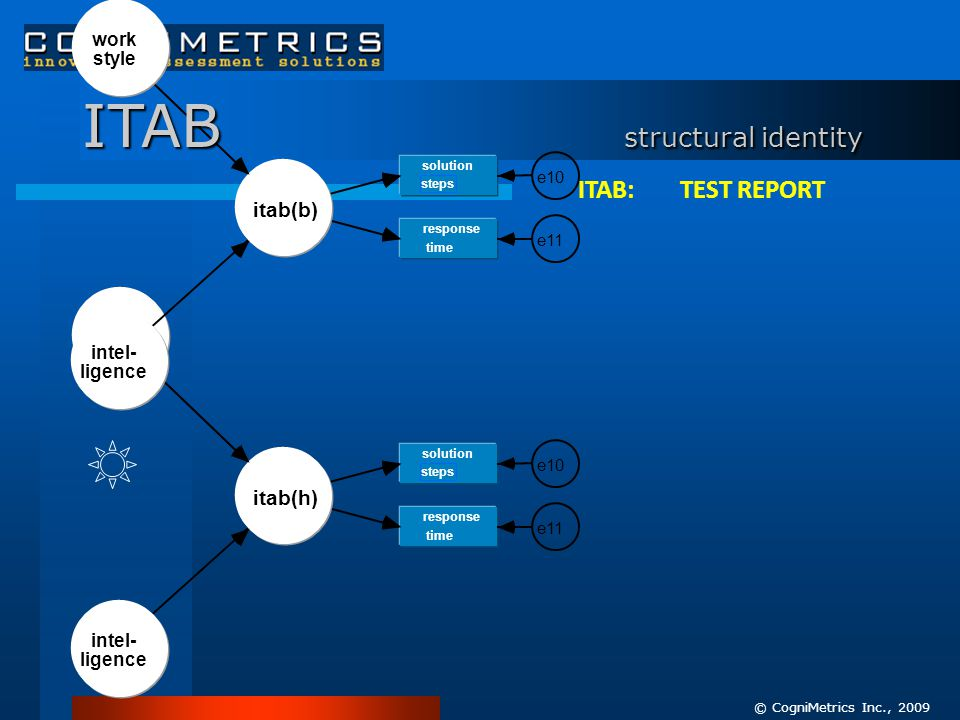 work style itab(h) intel- ligence solution steps e10 response time e11 work style itab(b) intel- ligence solution steps e10 response time e11 ITAB structural identity © CogniMetrics Inc., 2009 ITAB: TEST REPORT