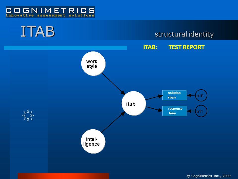 work style itab(h) intel- ligence solution steps e10 response time e11 work style itab intel- ligence solution steps e10 response time e11 ITAB structural identity © CogniMetrics Inc., 2009 ITAB: TEST REPORT