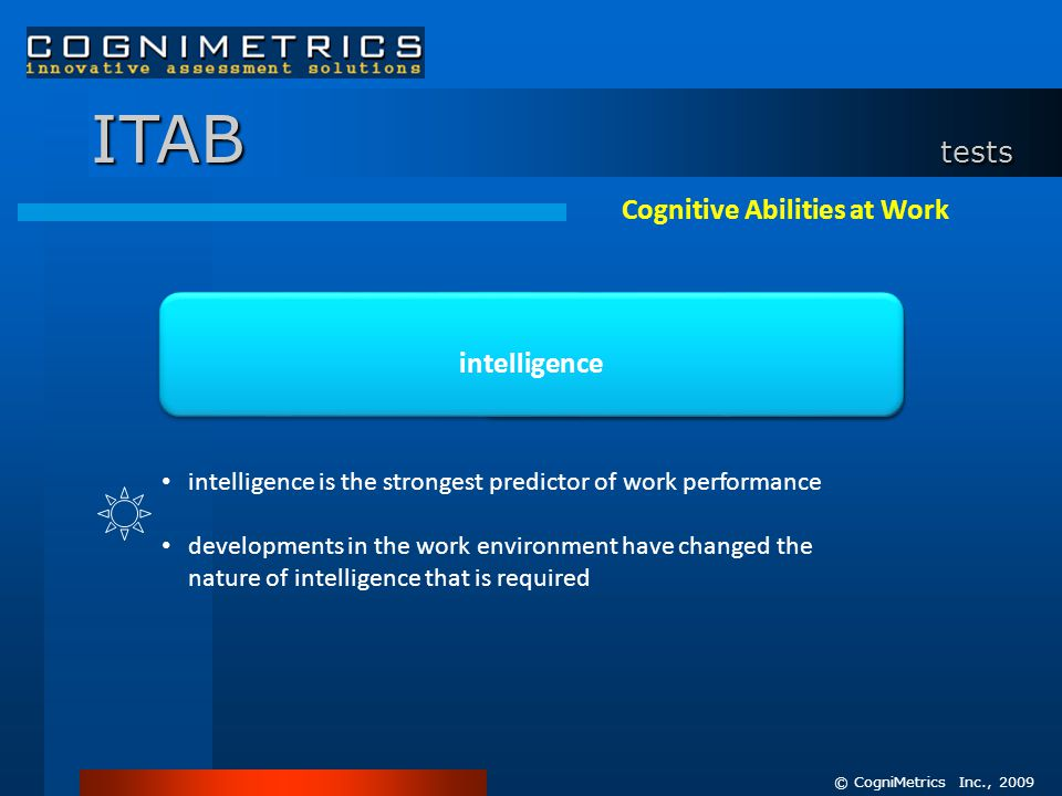 ITAB tests intelligence Cognitive Abilities at Work intelligence is the strongest predictor of work performance developments in the work environment have changed the nature of intelligence that is required