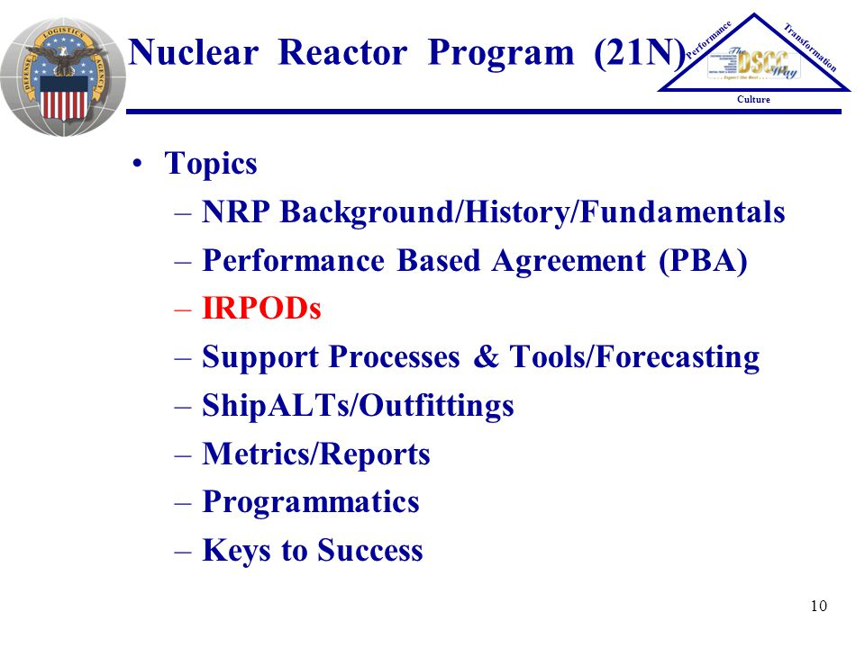 10 Nuclear Reactor Program (21N) Topics –NRP Background/History/Fundamentals –Performance Based Agreement (PBA) –IRPODs –Support Processes & Tools/For