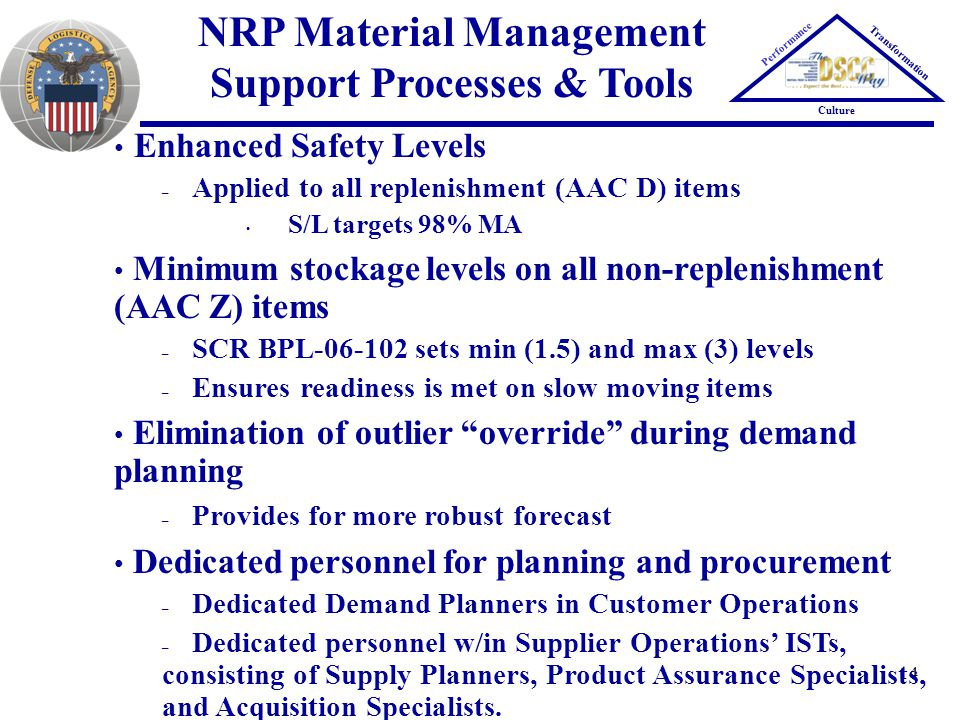 14 NRP Material Management Support Processes & Tools Performance Transformation Culture Enhanced Safety Levels – Applied to all replenishment (AAC D)