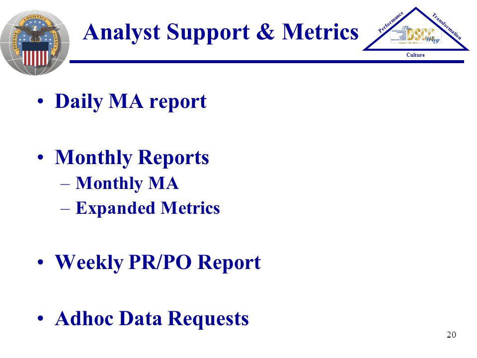 20 Analyst Support & Metrics Performance Transformation Culture Daily MA report Monthly Reports –Monthly MA –Expanded Metrics Weekly PR/PO Report Adho