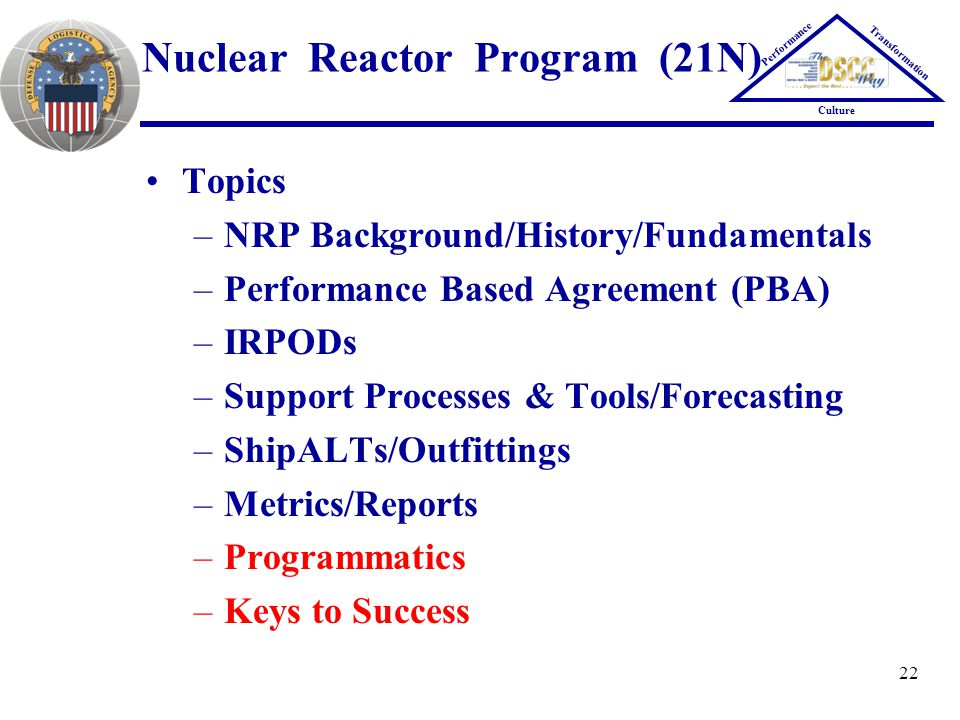 22 Nuclear Reactor Program (21N) Topics –NRP Background/History/Fundamentals –Performance Based Agreement (PBA) –IRPODs –Support Processes & Tools/For
