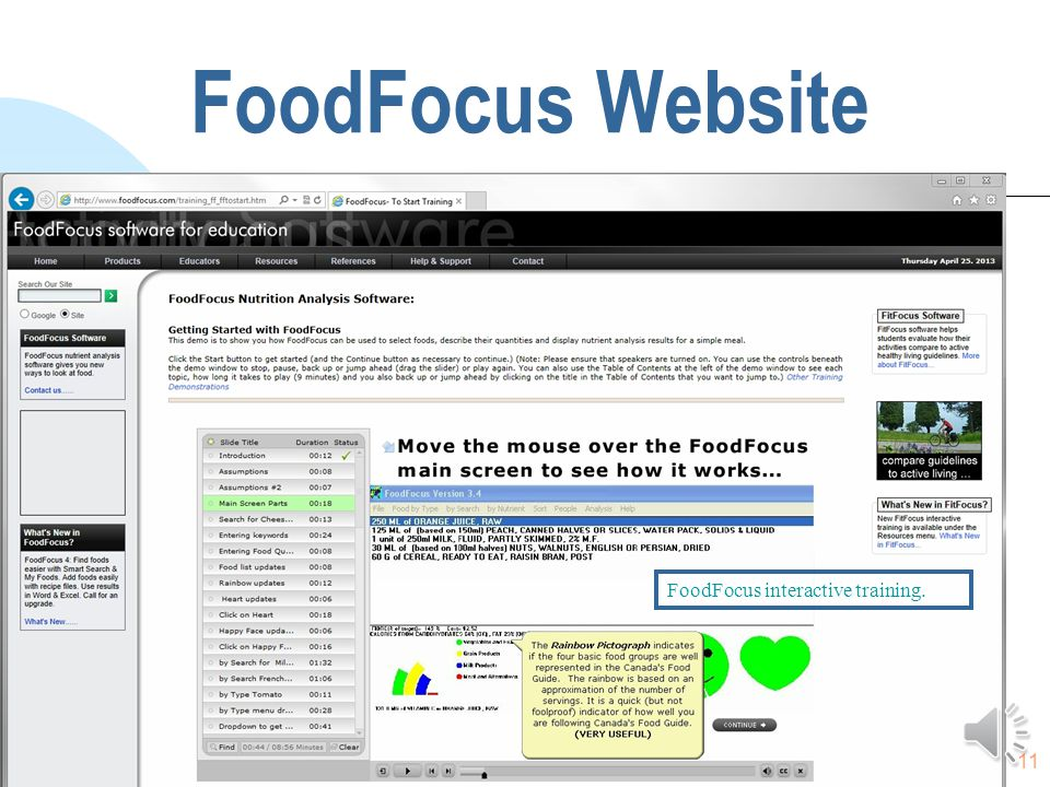 10 FoodFocus Website The FoodFocus website has lesson plans and interactive training for both FoodFocus and FitFocus.