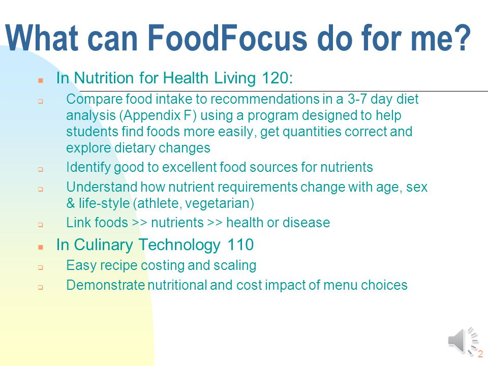 12 Teacher Feedback We use Food Focus with 5 grade 10 Food classes and 5 grade 12 Food and Nutrition classes.