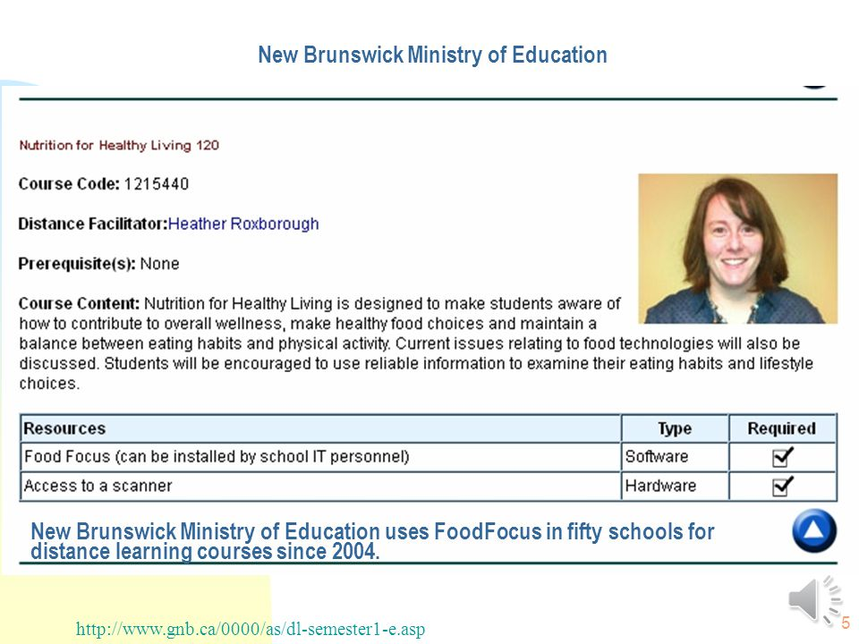 5 New Brunswick Ministry of Education http://www.gnb.ca/0000/as/dl-semester1-e.asp New Brunswick Ministry of Education uses FoodFocus in fifty schools for distance learning courses since 2004.