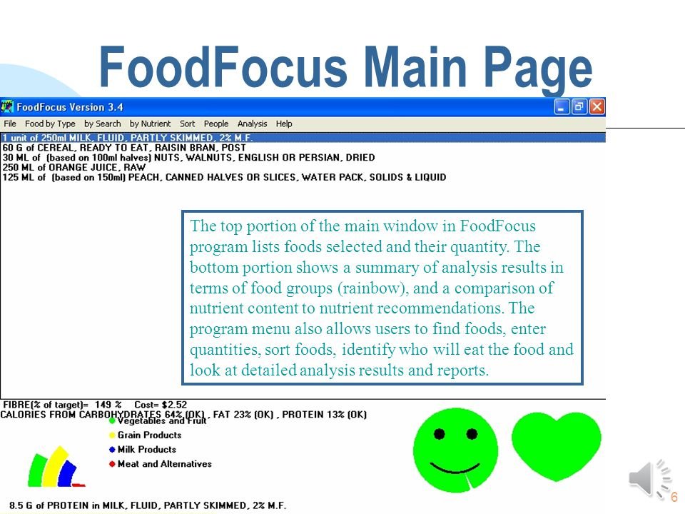 6 FoodFocus Main Page The top portion of the main window in FoodFocus program lists foods selected and their quantity.