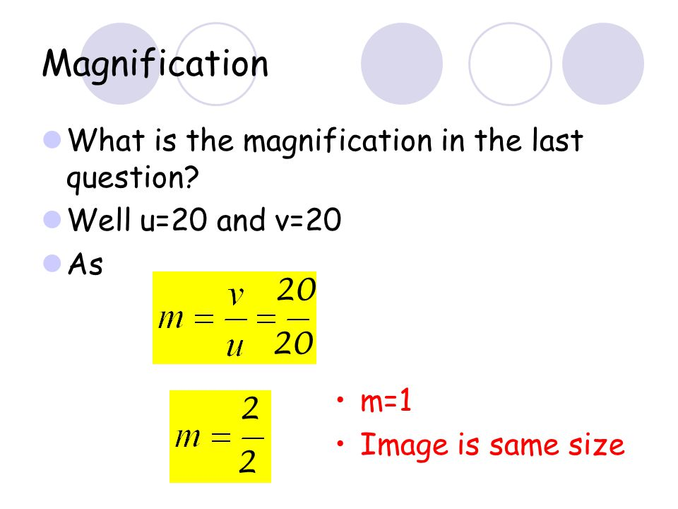 Example An object is placed 20cm from a concave mirror of focal length 10cm find the position of the image formed. What is the nature of the image? Co