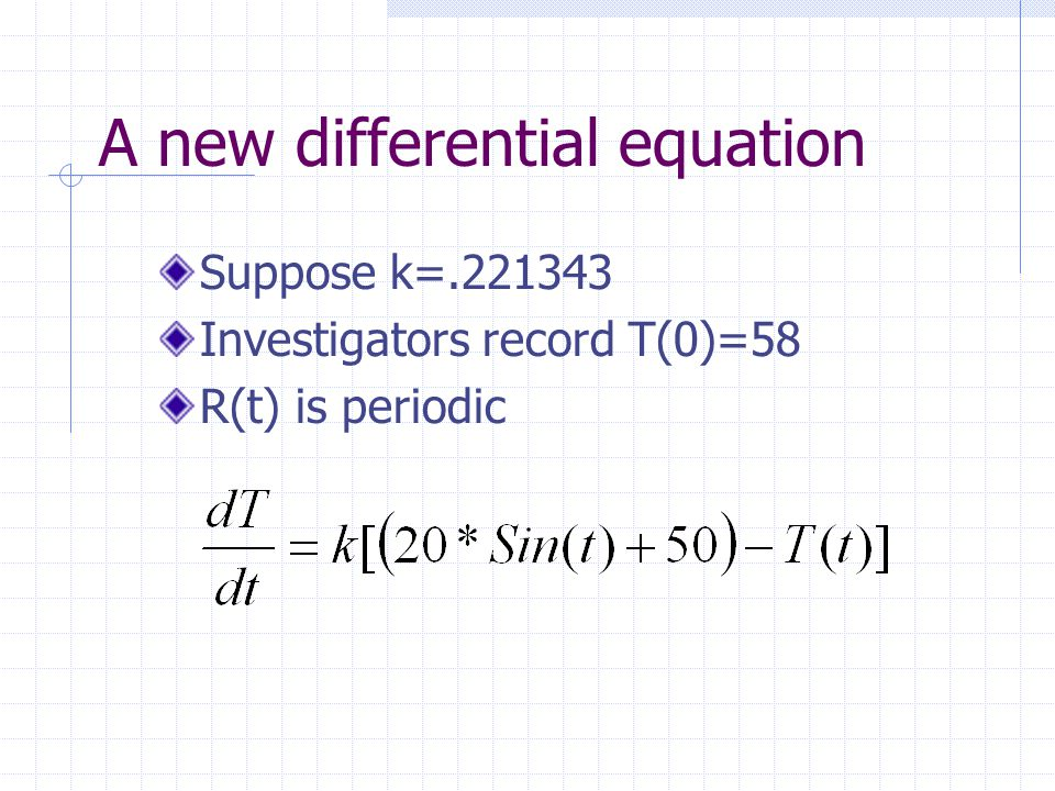 A new differential equation Suppose k=.221343 Investigators record T(0)=58 R(t) is periodic
