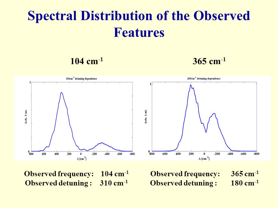 Spectral Distribution of the Observed Features 104 cm -1 365 cm -1 Observed frequency: 104 cm -1 Observed detuning : 310 cm -1 Observed frequency: 365
