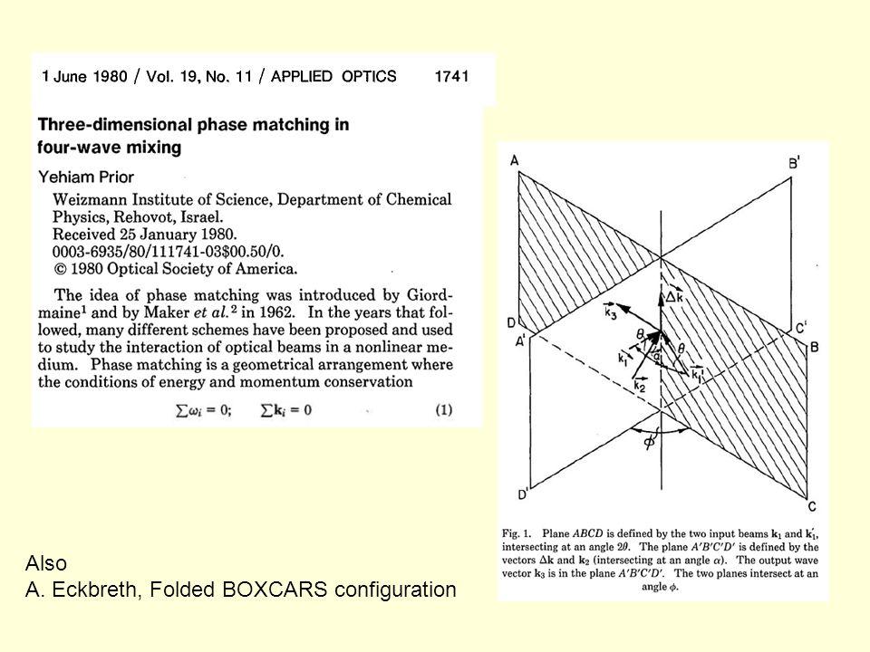 Also A. Eckbreth, Folded BOXCARS configuration