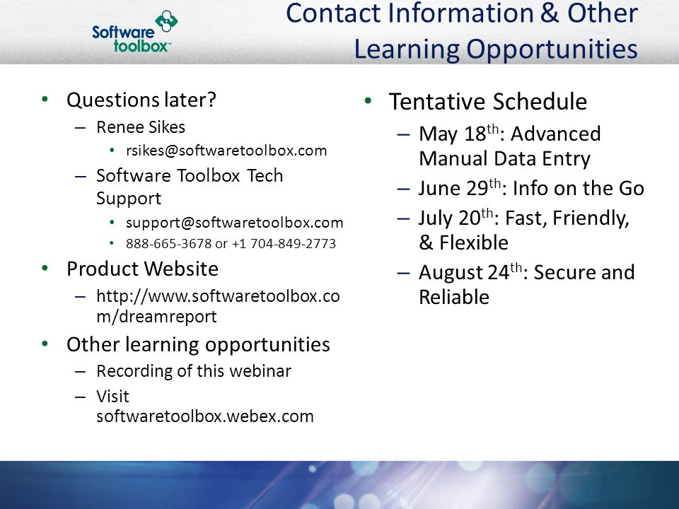 Contact Information & Other Learning Opportunities Questions later.