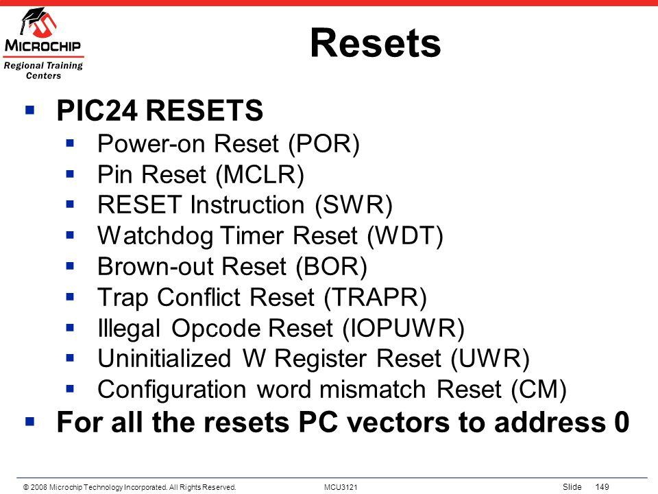 © 2008 Microchip Technology Incorporated. All Rights Reserved. MCU3121 Slide 149 Resets PIC24 RESETS Power-on Reset (POR) Pin Reset (MCLR) RESET Instr