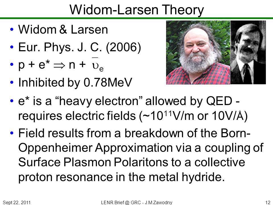 Sept 22, 2011LENR Brief @ GRC - J.M.Zawodny12 Widom-Larsen Theory Widom & Larsen Eur.