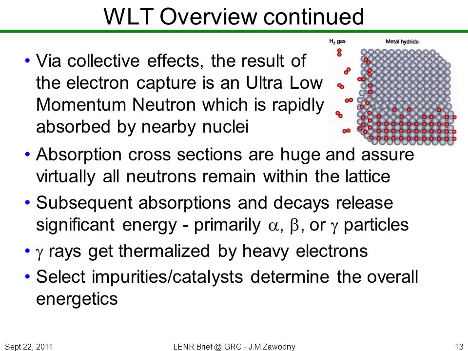 Sept 22, 2011LENR Brief @ GRC - J.M.Zawodny13 WLT Overview continued Via collective effects, the result of the electron capture is an Ultra Low Moment