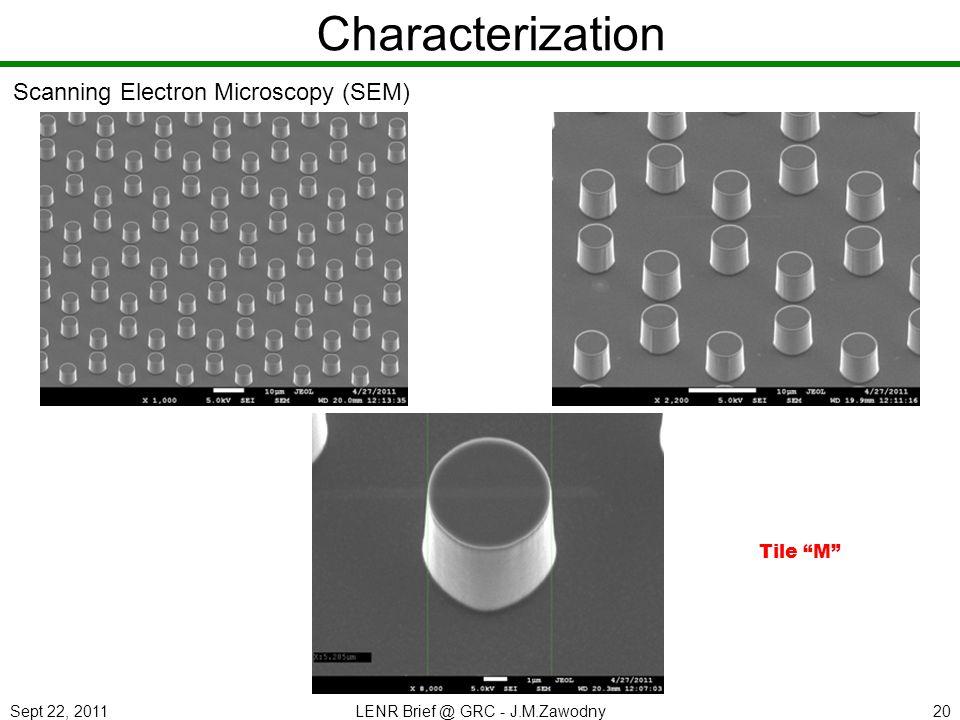 Sept 22, 2011LENR Brief @ GRC - J.M.Zawodny20 Characterization Scanning Electron Microscopy (SEM) Tile M
