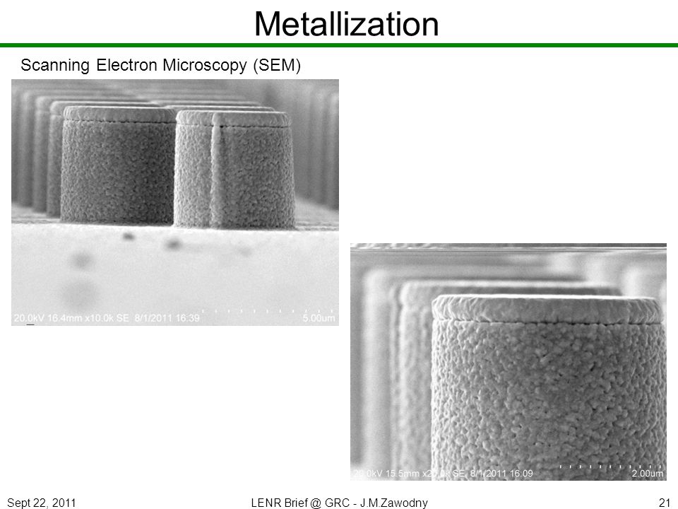 Sept 22, 2011LENR Brief @ GRC - J.M.Zawodny21 Metallization Scanning Electron Microscopy (SEM)