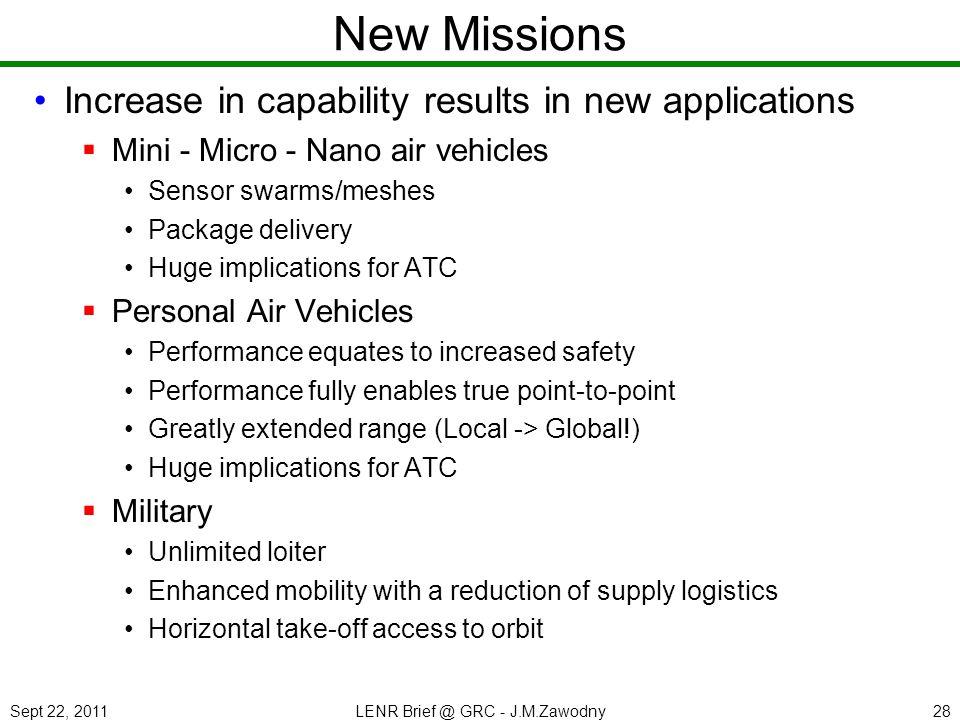 Sept 22, 2011LENR Brief @ GRC - J.M.Zawodny28 New Missions Increase in capability results in new applications Mini - Micro - Nano air vehicles Sensor