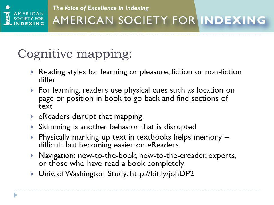 Cognitive mapping: Reading styles for learning or pleasure, fiction or non-fiction differ For learning, readers use physical cues such as location on