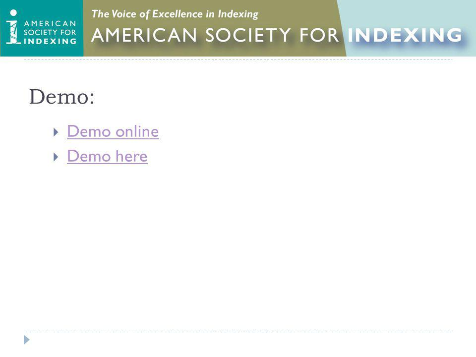 Demo: Demo online Demo here