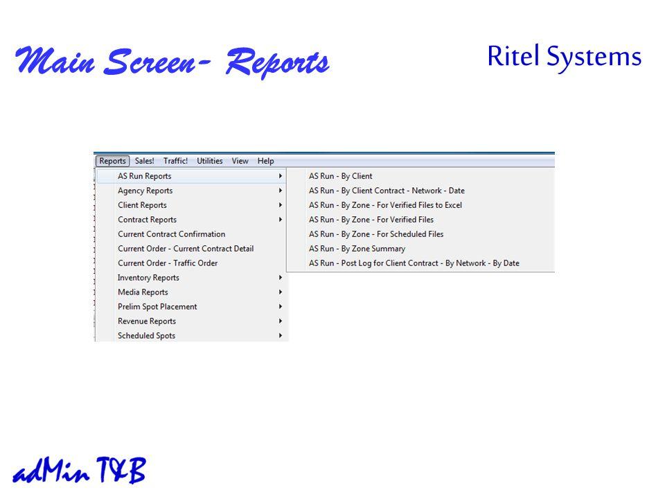 Main Screen- Reports