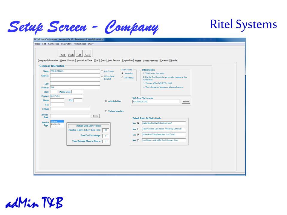 Setup Screen - Company